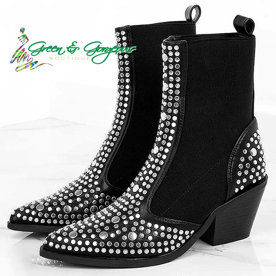 Top Silver Studded Black Mid-Calf Bootie