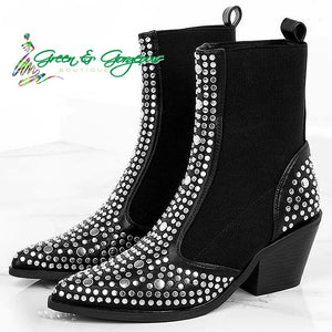 Open image in slideshow, Top Silver Studded Black Mid-Calf Bootie