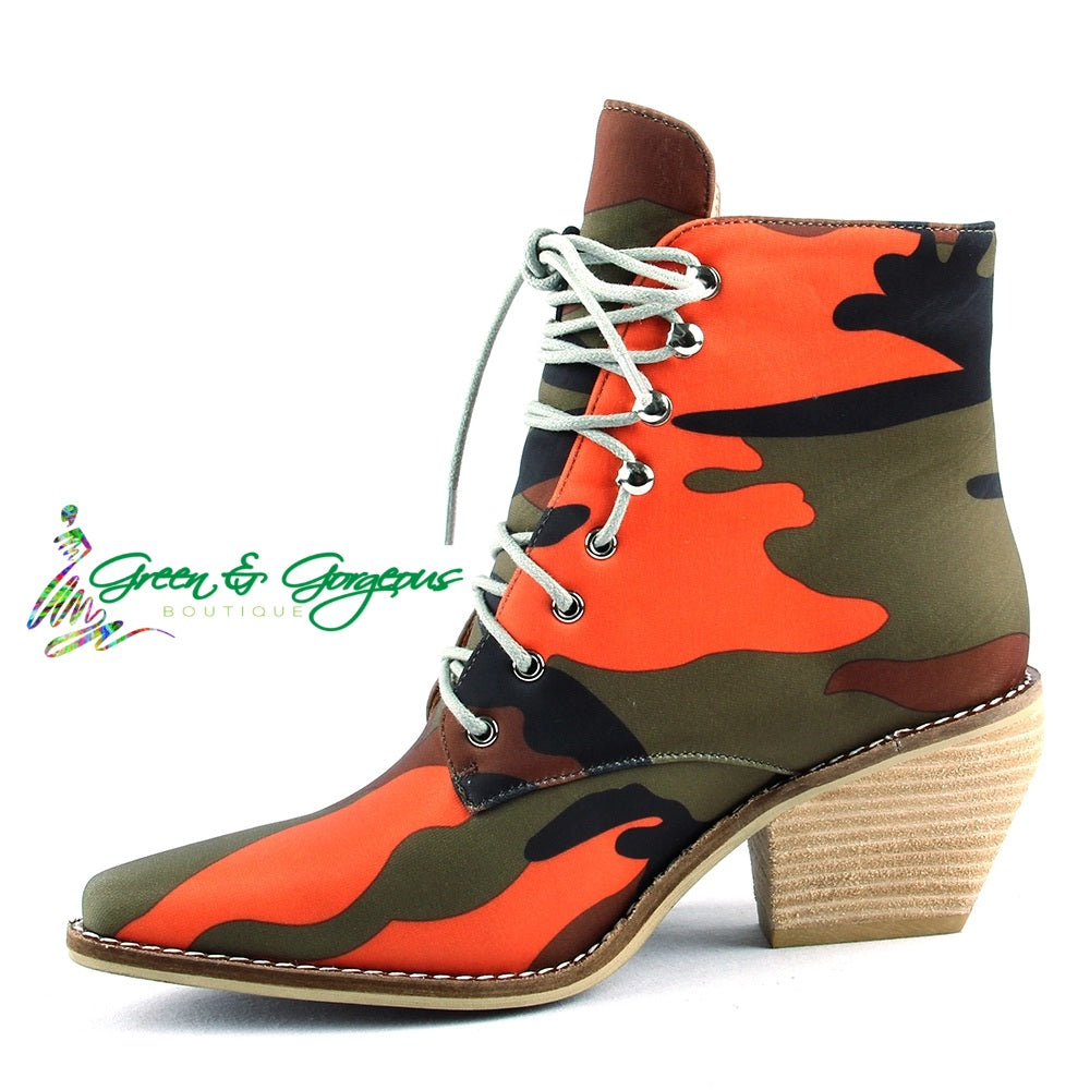 'Ready For War' Orange Army Pattern Pointy Toe Booties