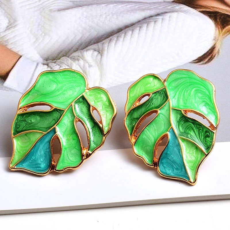 Green & Gorgeous Signature Collection | Marble Hand-painted Palm Leaf Earrings