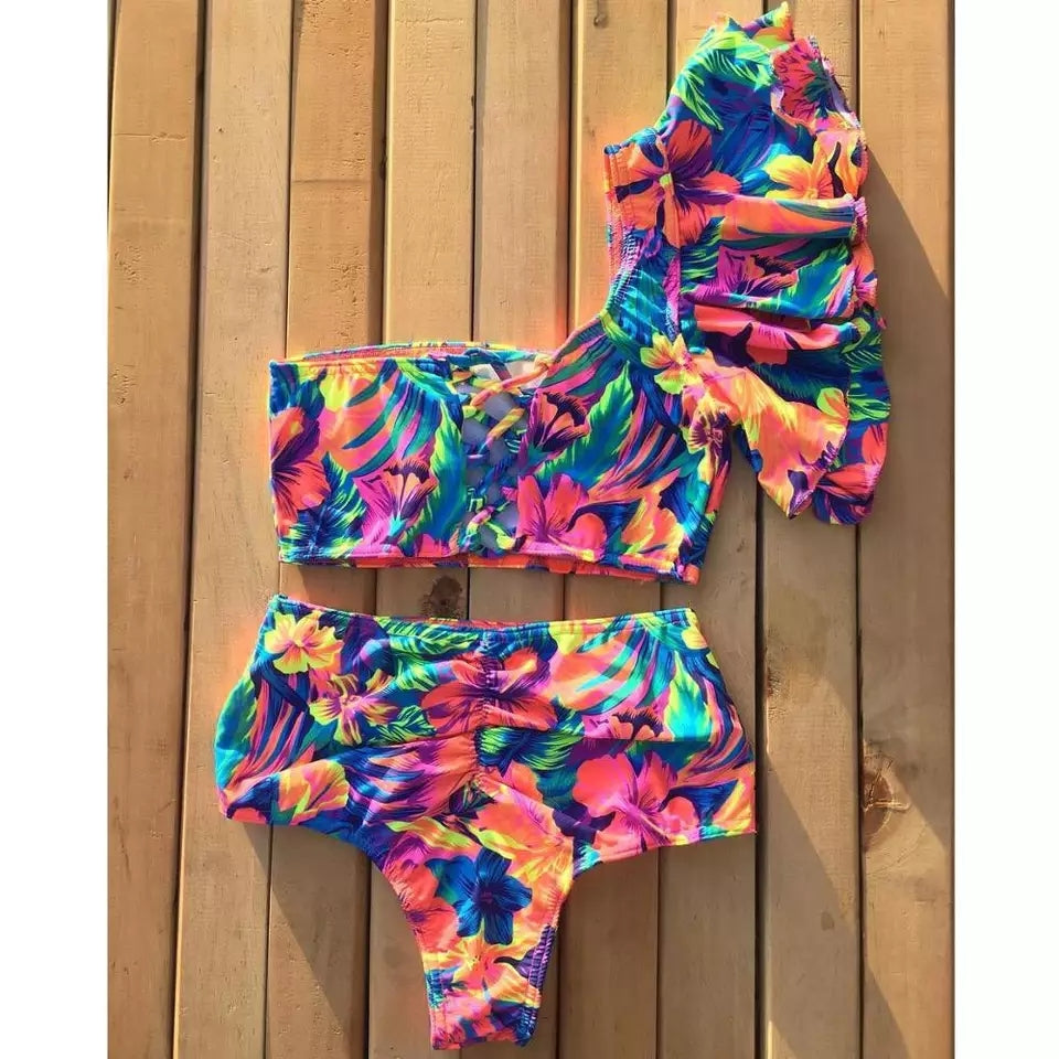Tropical Flowers Swimsuit Green, Pink, Red Two Set - $24.00