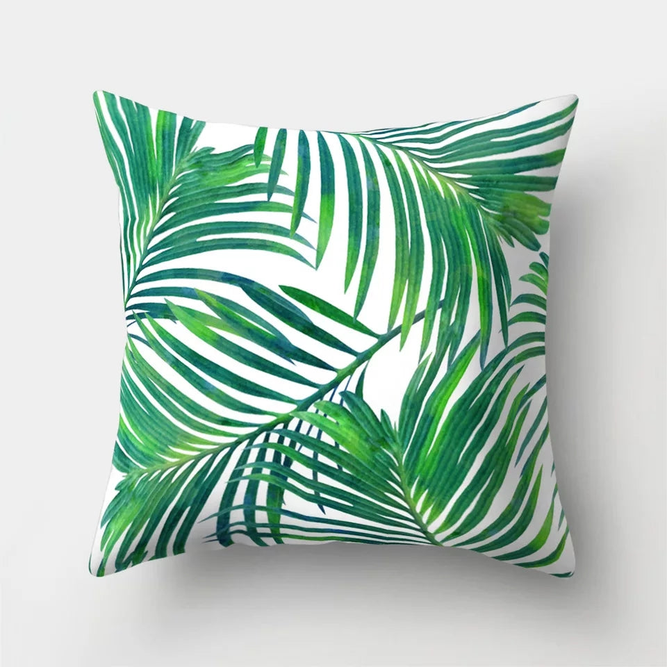 New Home Décor Collection - Signature Green Palm Leaves Pillows
