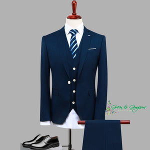 Navy Blue Three Piece Men's Suit (JACKET+PANTS+VEST)