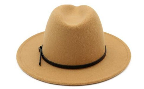 classic tan brown fedora hat