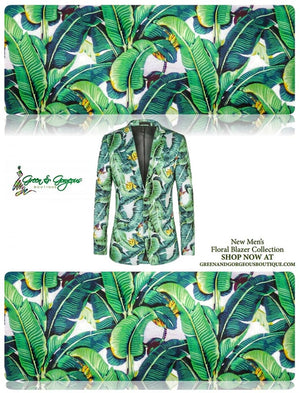 *NEW* Men's Banana Leaf Floral Pattern Printed Blazer | Green - $145.00