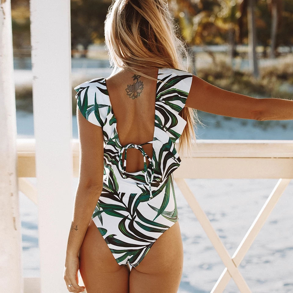 Tropical Green Leaf Print Backless One Piece Swimsuit - $29.50
