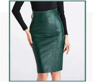 Green Leather Pencil Skirt