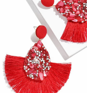 New Jewelry Collection | Red Crushed Stone Fan Earrings (BOGO SALE Buy 1 Pair Get 50% Off 2nd Pair)