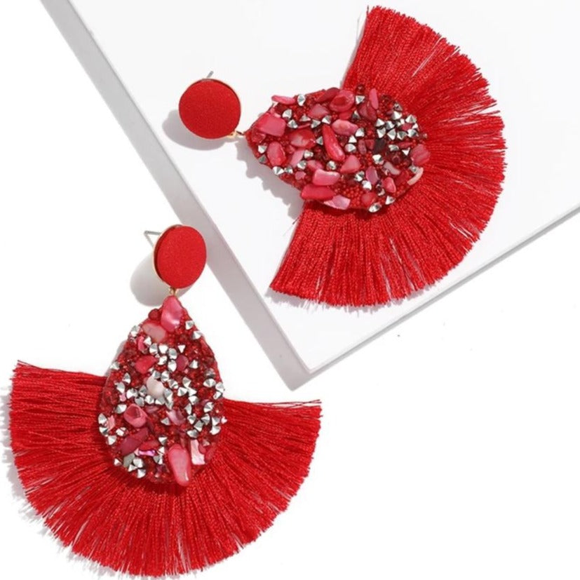 Red Crushed Stone Fan Earrings