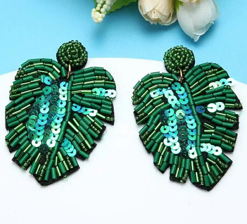Green & Gorgeous Beaded Leaf Earrings