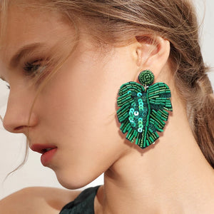 Green & Gorgeous Signature Collection Beaded Palm Leaf Earrings