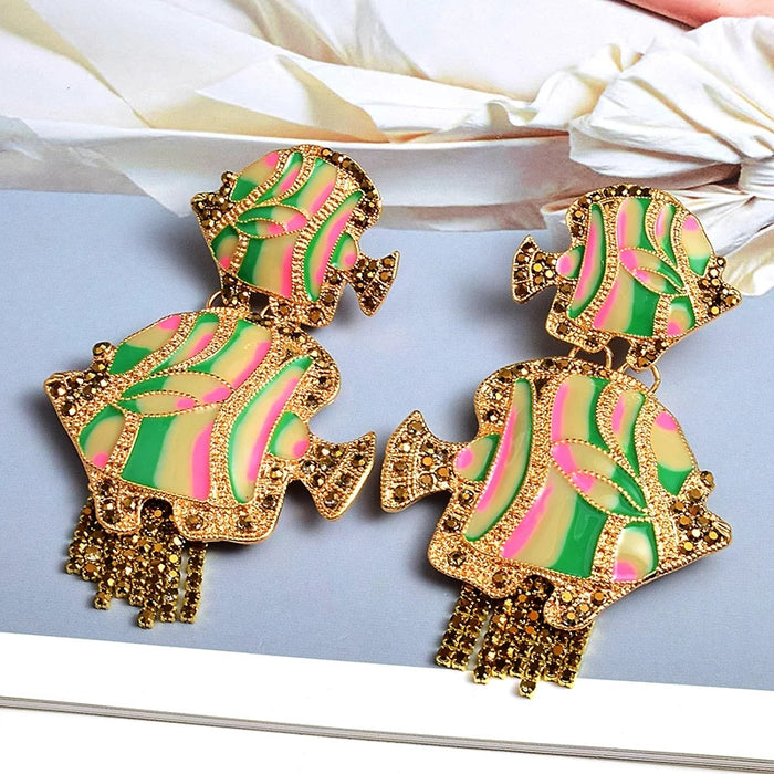 Green & Gorgeous Collection | Green & Pink Hand Painted Fish Earrings