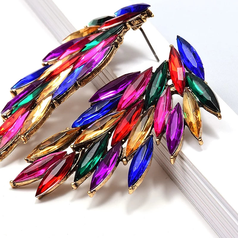 Green & Gorgeous Signature Rainbow Collection | Luxury Feather Rhinestones Earrings