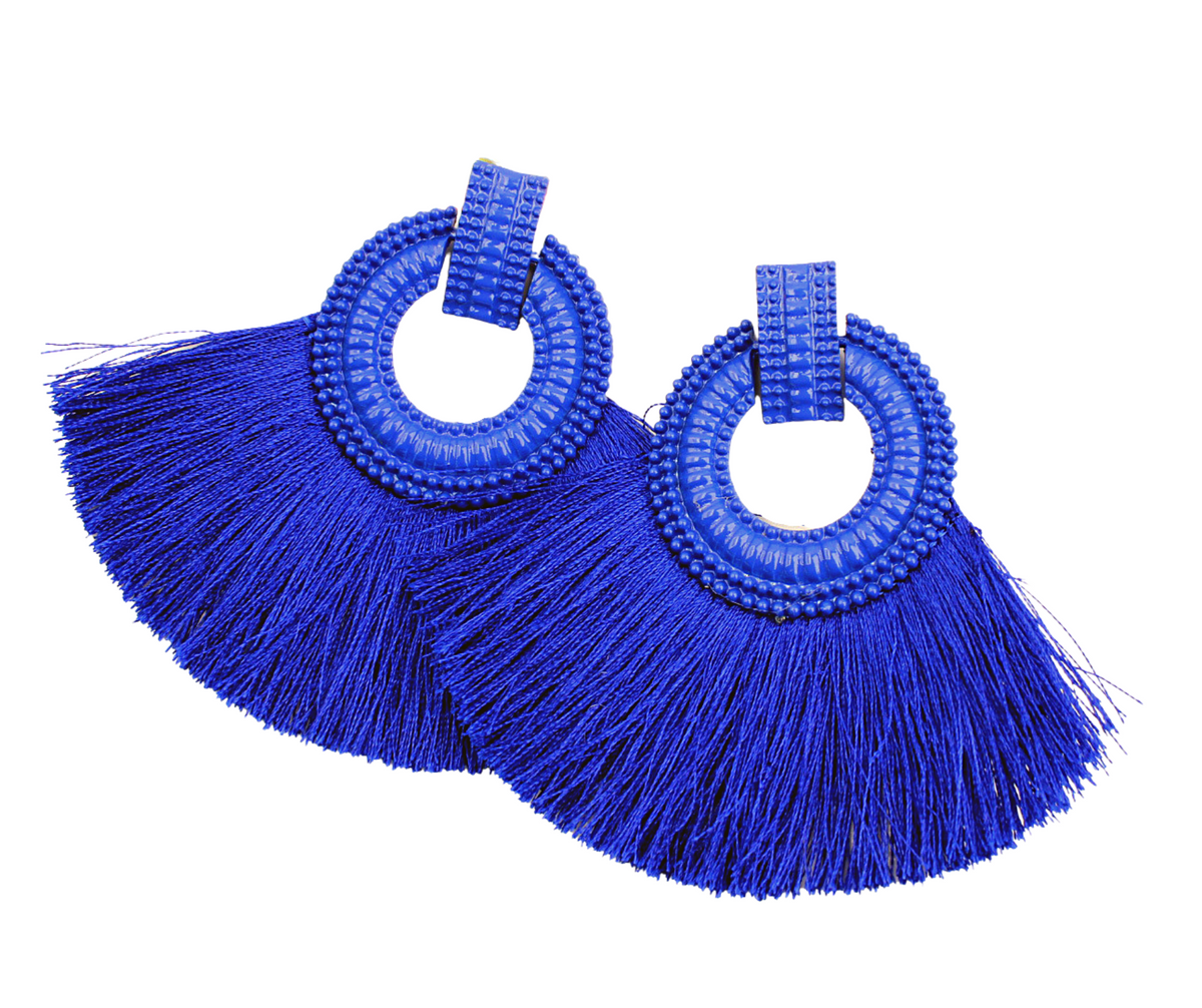 Green & Gorgeous Winter Jewelry Collection | Royal Blue Bohemian Tassel Earrings