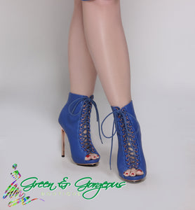 Royal Blue Heels Lace up  Ankle Booties Stiletto Heels