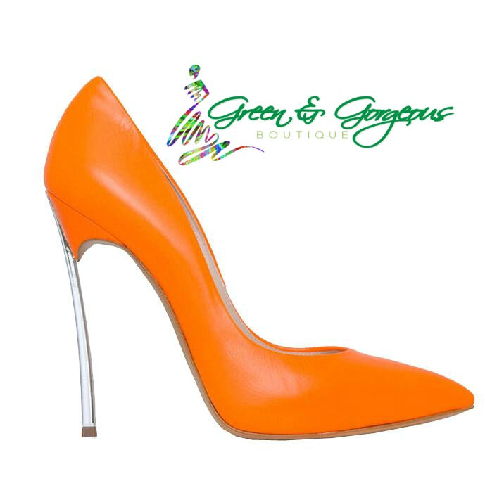 Orange Women Shoes Slip-on Glaze Surface Metal thin High Heels
