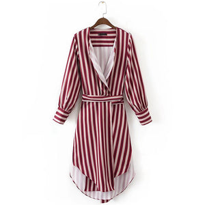Red Striped Long-Sleeve Jacket With High-Waist Striped Pants Set