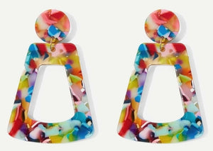 New Jewelry Collection | Rainbow Flower Art-Resin Earrings