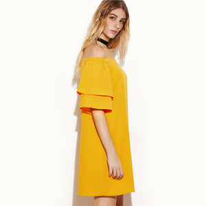 Casual Yellow Layered Half Sleeve Off The Shoulder Shift Dress