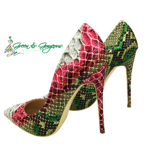 Green Snakeskin-Print High Heels