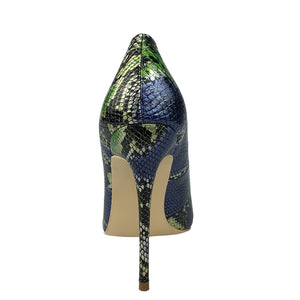 Open image in slideshow, Green and Blue Snakeskin Pumps