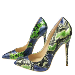 Green and Blue Snakeskin Pumps