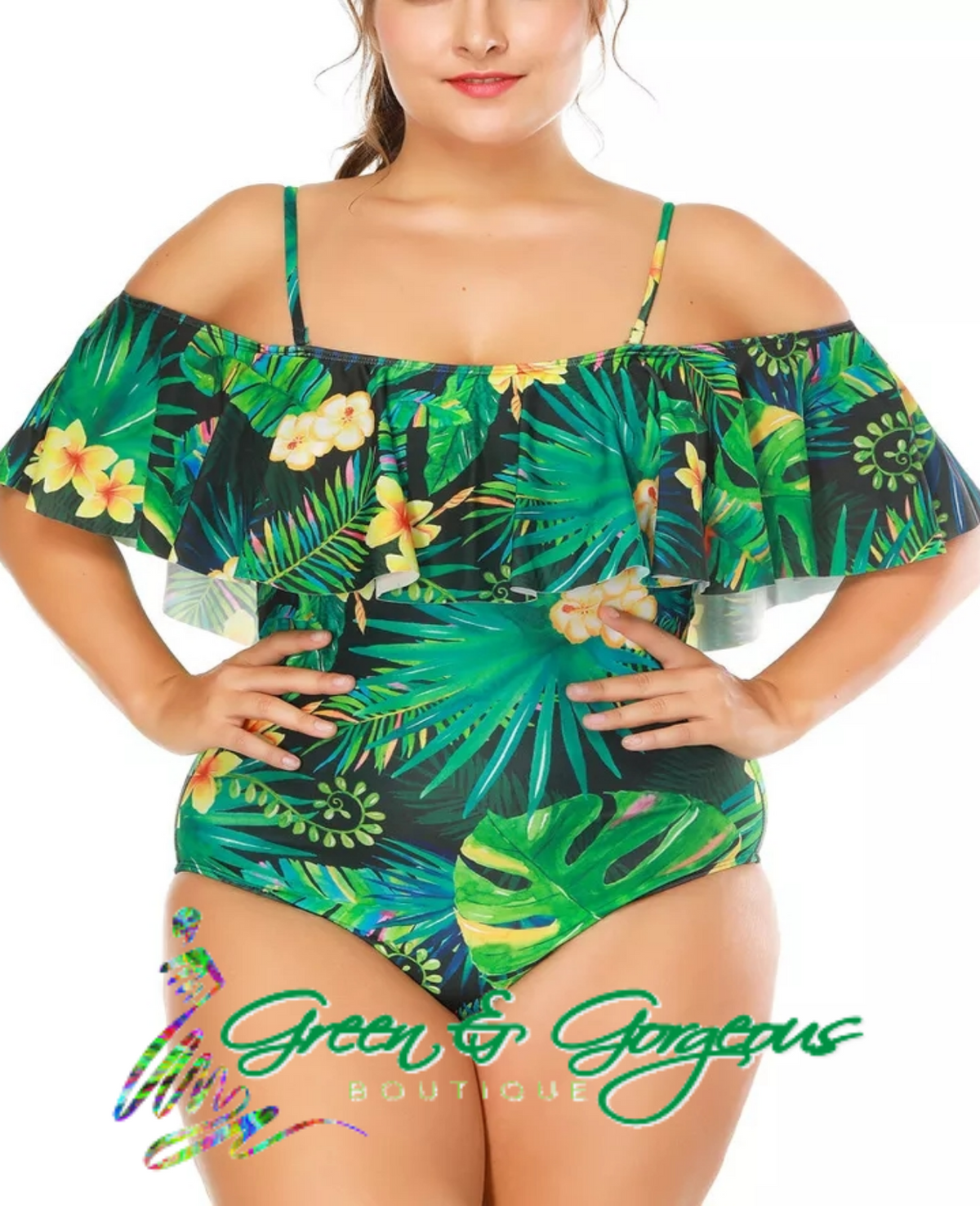 Tropical Dark Green Leaf Print One Piece Swimsuit (Plus Size)- $39.50