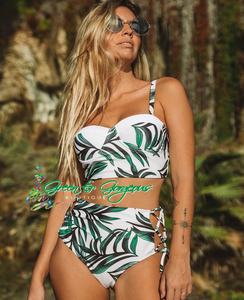 Tropical Green Leaf Print Two Piece Highwaist Swimsuit - $29.50