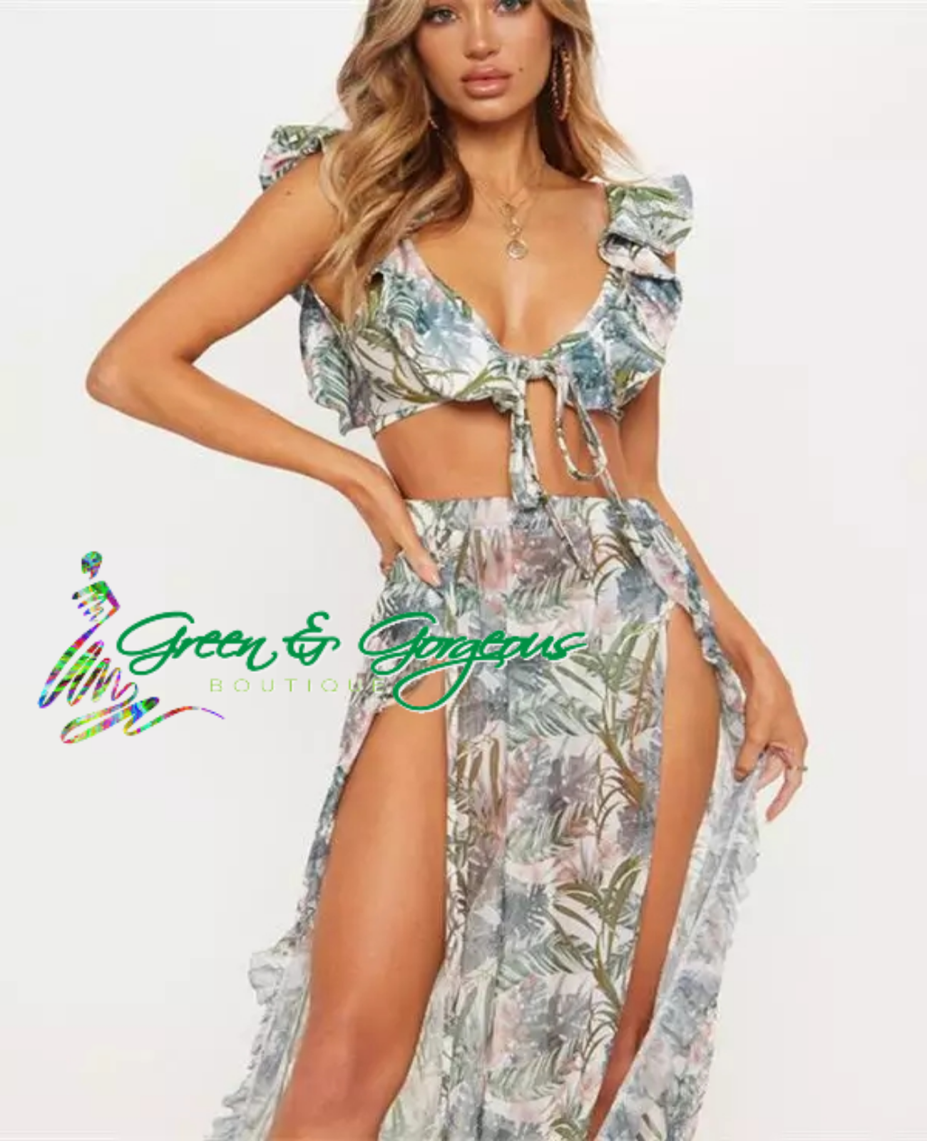 Tropical Green & Pink Leaf Print Two Piece Swimsuit - $24.95