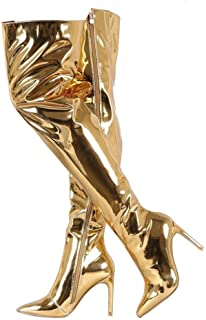 Golden Holiday Collection:  'Livin' Life Golden' Signature Metallic  Gold Thigh High Boots