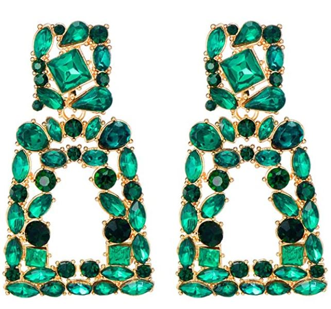 Green & Gorgeous Signature Collection Rhinestone Squared Dangle Earrings