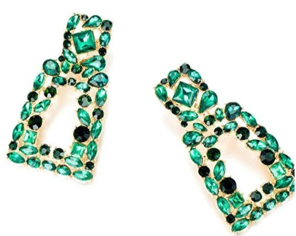 Green Rhinestones Earrings