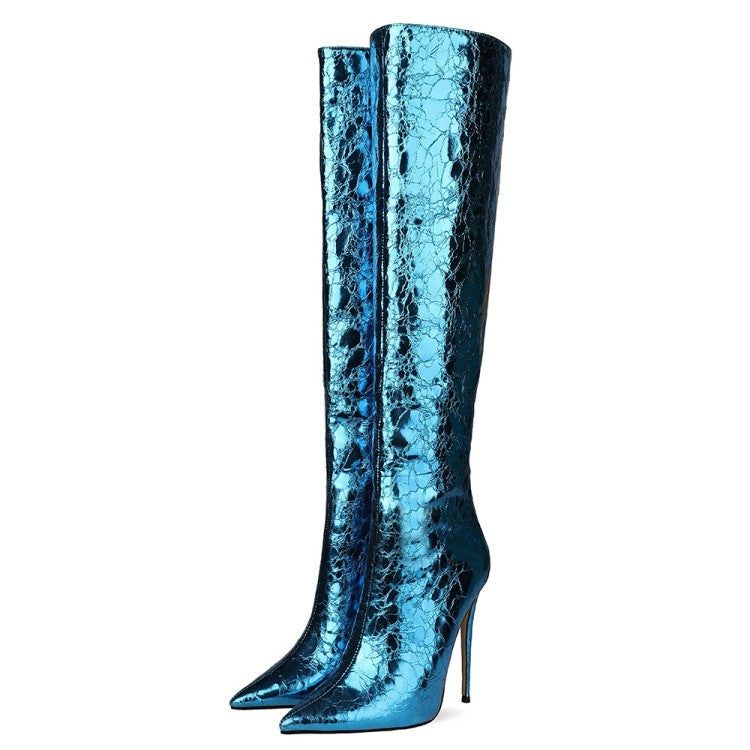 Sky Blue Sparkle Cracked Metallic  Blue Over-the-Knee Boots