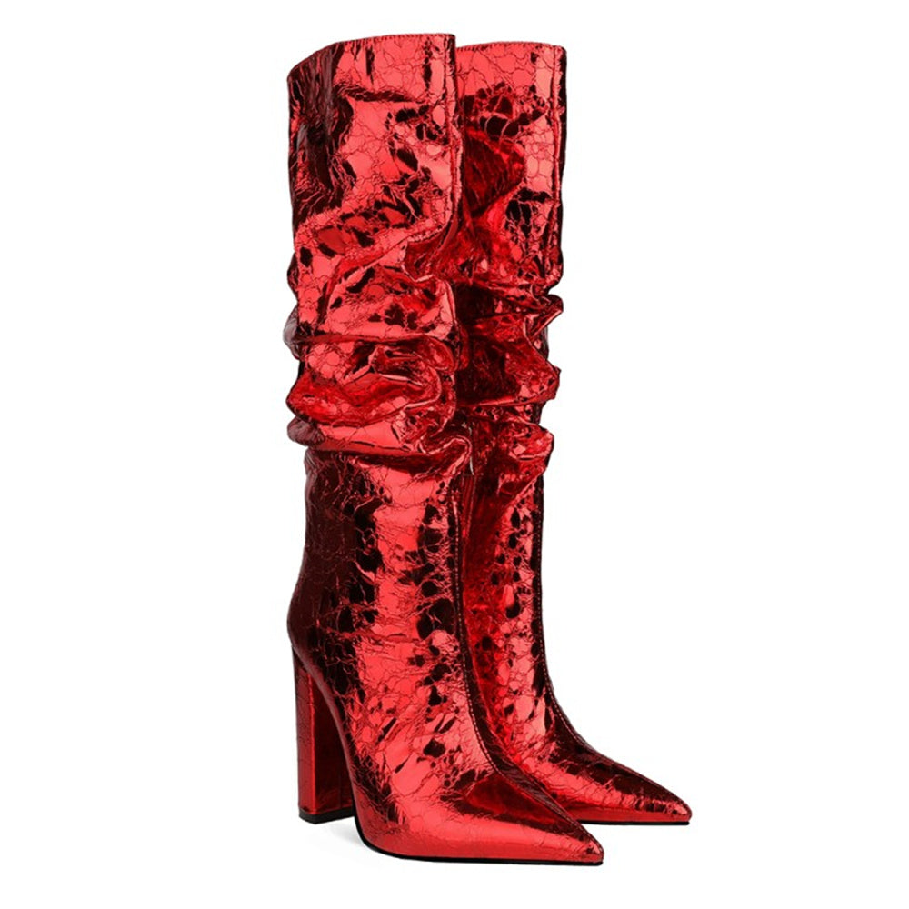 "ROSES ARE RED COLLECTION  | ""Ms. China Rose"" Fire Engine Metallic Boots"