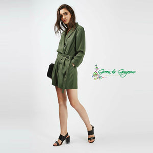 Green Lapel Blazer Romper With Strap
