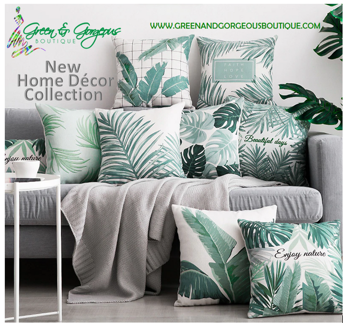 New Home Décor Collection - Tropical Bannana Green Leaves Pillows