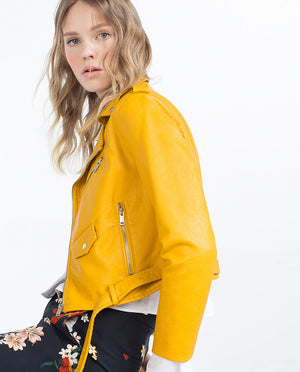 Yellow Autumn Women Leather Jacket Long Sleeve Turn-Down Collar