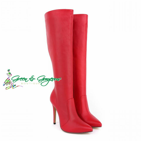 Red Fashion Long Boot Pointed Toe High Heels Over The Knee Boots