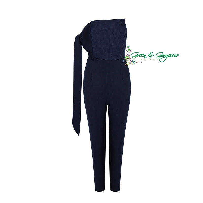 Blue One Shoulder Jumpsuit