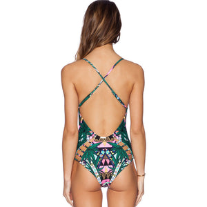 Green Floral Print Swimsuit