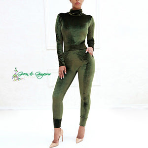 Green Velvet Jumpsuit