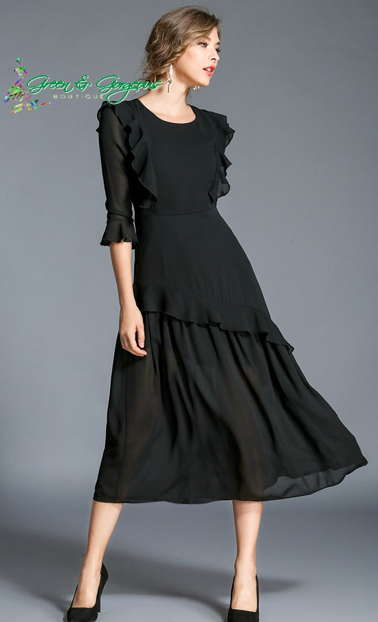 Black Chiffon Ruffle Dress