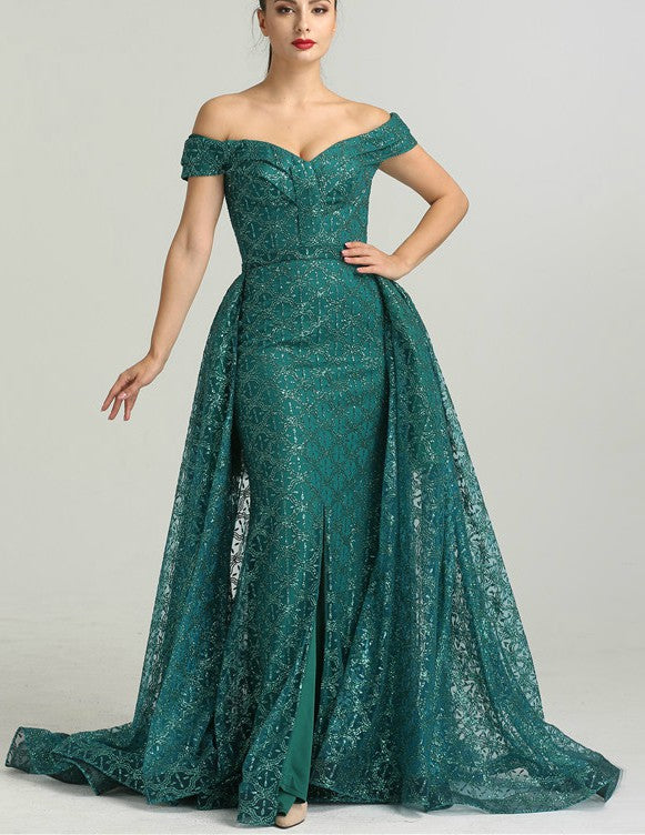 Green Off-the-Shoulder Evening Dress + Train