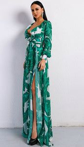 Green Long Sleeve Floral Maxi Dress