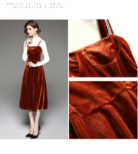 Orange Velvet Dress Spaghetti Strap | Mid-Calf length
