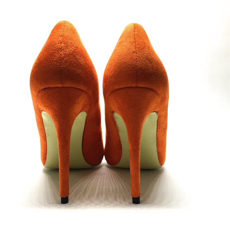 Orange and Pink Suede High Heels Pumps