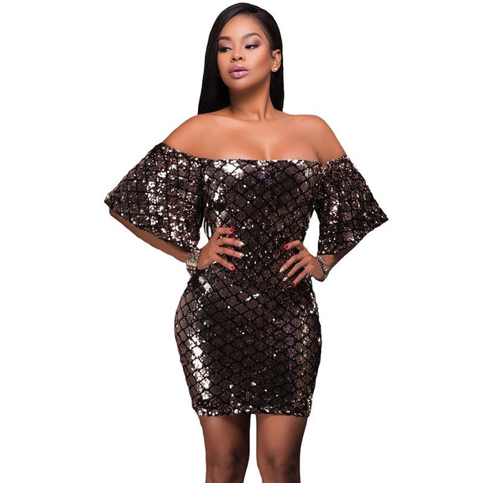 Brown Sequin Off the Shoulder Dress
