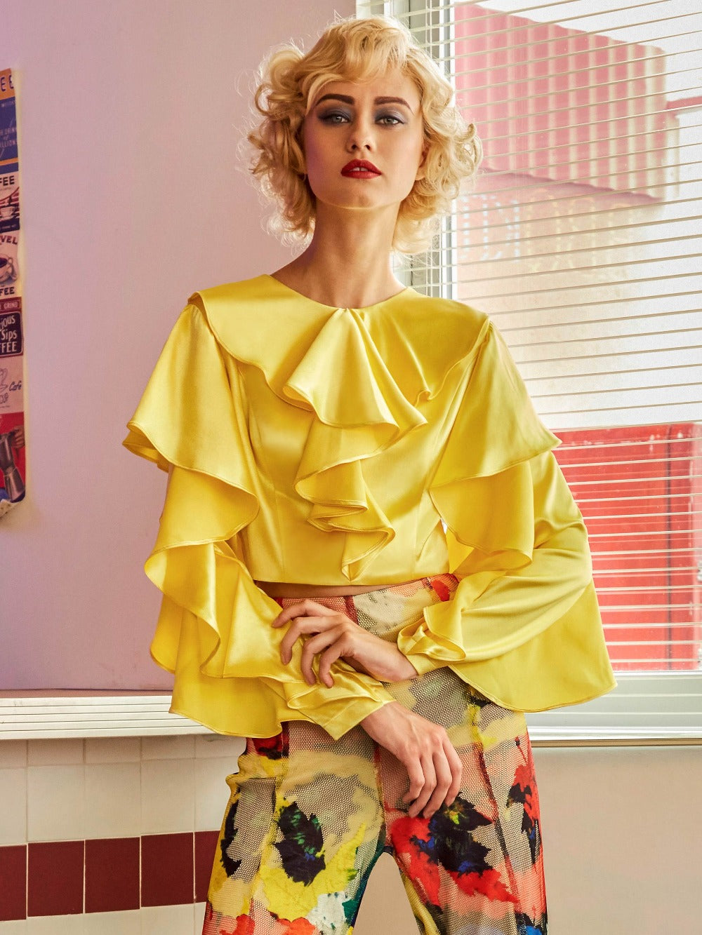 Yellow Round Collar Ruffle Blouse