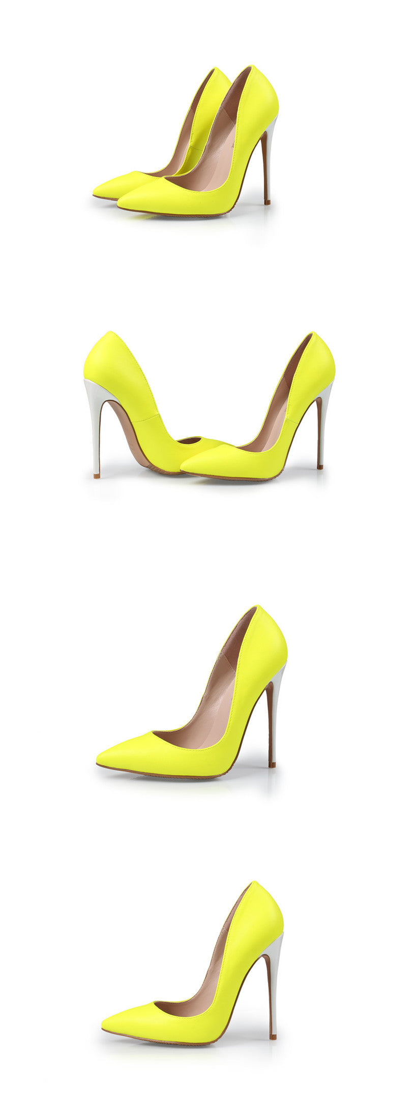 Yellow Shoes Woman Pumps Heels Sexy Pointed Toe