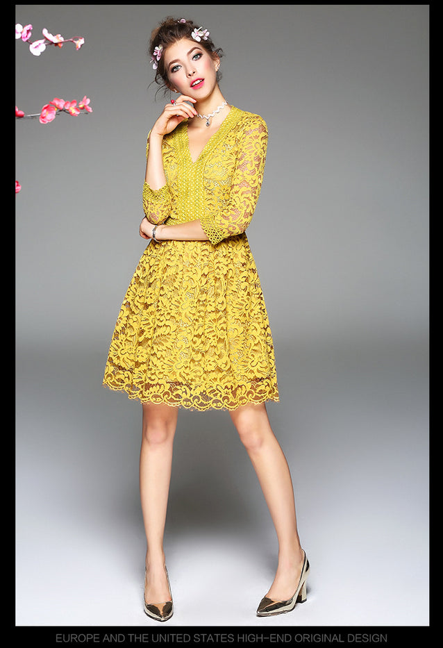 Autumn Dress Yellow Clothes Europe Style Lace